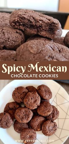 You can't go wrong with rich chocolatey cookies with a hint of smoky spiciness. That's the premise behind these spicy Mexican hot chocolate cookies. Cocoa powder and chocolate chips provide a sweet foil to smoky chipotle powder and fiery cayenne pepper. It's a mouth explosion of earthy sweet and a wisp of smoke and heat. #cookies #chocolatecookies #mexicanchocolatecookies #spicyrecipes #mexicanhotchocolatecookies #cocoapowder #chocolatechips Spicy Recipes, Mexican Food Recipes, Dessert Recipes, Chocolate Cookies, Chocolate Chips, Mexican Hot Chocolate, Cocoa Cinnamon, Cayenne Peppers, Stuffed Hot Peppers