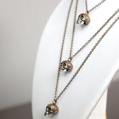 Triple Human Skull Necklace Cluster in Solid Bronze Skull by mrd74