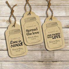 Wedding favor labels: Three customized ready-to-print Mason Jar tags (PRINTABLE) via Etsy