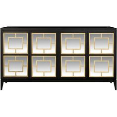 Isabella Costantini Zoe Sideboard with Mirror Decorations with Tapered... (29,800 MYR) ❤ liked on Polyvore featuring home, furniture, storage & shelves, sideboards, brown, lacquer furniture, gold furniture, door furniture, tapered legs furniture and brown's furniture