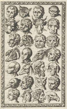 28 koppen van mensen en dieren, Jan Luyken, Willem Goeree, 1682