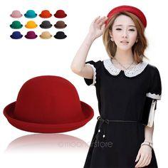 Moda colorido das mulheres chapéu de feltro Bowler & Derby de lã Fedora rodada Cap WHM316