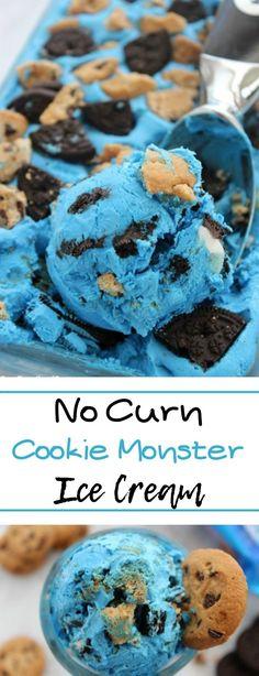 Cookie Monster Ice Cream # Eis # Desserts - Perfect For Our Grand-cuties! Cookie Monster Ice Cream, Cookie Monster Party, Ice Cream Cookies, Ice Cream Desserts, Iced Cookies, Ice Cream Recipes, Yummy Cookies, Cookies Et Biscuits, Ice Monster