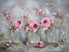 Another beautiful painting by Gail McCormack (Glass Vases and Flowers on canvas.)