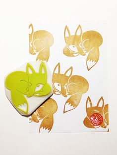 sleeping fox rubber stamp. hand carved rubber by talktothesun