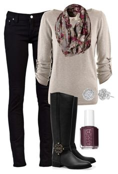 Definitely my style on a snowy winter day. Love adding a patterned scarf to a simple outfit. I love the dark maroon color as an accent here. It is perfect with this outfit. Also, it is one of my favorite colors. Polyvore Outfits, Polyvore Fashion, Mode Outfits, Fashion Outfits, Fashion Trends, Fashion Ideas, Fashionista Trends, Womens Fashion, Fashion Styles