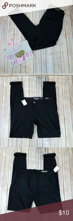 """Rock 47 NWT Black Jeggings Salon Wear 29x33 Rock 47 soft knit jeggings that are new with tags. Skinny leg style. Perfect for salon wear. Cosmetology etc . Tagged size 29x33.  NEW.  Measurements: Length 44"""" Inseam 34"""" 16""""across front waist laying flat unstretched #ravenkittystyle #jeggings #leggings #black #salon #beauty #cosmetology #jeans #pants #blackpants #size29 #rock47 #nwt #newwithtags rock47 Pants Skinny"""