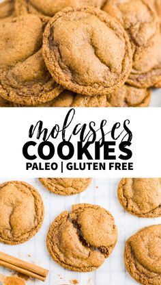 Wait until you try these chewy paleo molasses cookies! Theyre gluten free refine.Wait until you try these chewy paleo molasses cookies! Theyre gluten free refined sugar free and so easy to make. Theyre a great Christmas cookie for the holida Paleo Cookies, Ginger Cookies, Gluten Free Cookies, Gluten Free Baking, Gluten Free Desserts, Gluten Free Recipes, Baking Recipes, Cookie Recipes, Quick Cookies