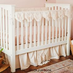 The boho nursery you've been dreaming of. Our Natural and Blush Pink Macrame Baby Bedding set is a Decor 2 Ur Decor EXCLUSIVE. We adore the texture of the macrame featured on the rail cover and crib skirt. We're in boho baby bedding heaven. Baby Boy Bedding Sets, Custom Baby Bedding, Baby Girl Crib Bedding, Girl Cribs, Boho Nursery, Nursery Decor, Crib Skirts, Baby Necessities, Boho Baby