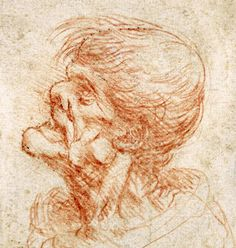 54. Caricature Head Study of an Old Man, 1500-05, chalk on paper, 9.8 x 8.2 cm