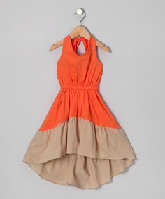 Take a look at this Orange & Beige Erin Dress - Infant, Toddler & Girls by KandyCrew on #zulily today!
