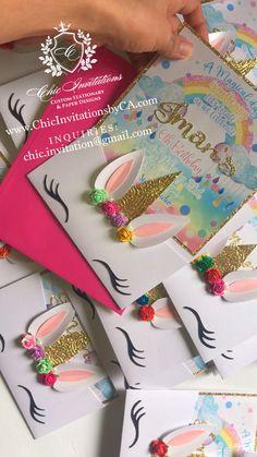 Unicorn handmade invitation, unicorn invite, custom, baby shower Handmade by Chic Invitations💕 Or Diy Unicorn Party, Unicorn Birthday Cards, Baby Unicorn, Diy Birthday Invitations, Unicorn Invitations, Wedding Invitations, Handmade Invitation Cards, Handmade Birthday Cards, Cake Toppers