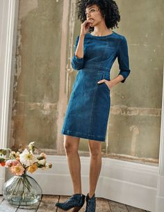 Buy Boden Blue Coraline Dress from the Next UK online shop Coraline, Denim Vintage, Denim Shirt Dress, Fashion Plates, Style Guides, Spring Summer Fashion, Blue Dresses, Evening Dresses, Couture