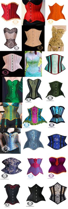 """By Mina LaFleur: """"Just for fun, it's a rainbow of corsets! I love to work on colourful pieces and I've been really lucky over the years to get great commissions from creative customers. And of course, I couldn't leave out a few neutrals. Toronto, Corset Costumes, Waist Training, Couture, Just For Fun, Belle Epoque, Over The Years, Bespoke, Boned Corsets"""