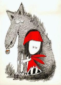 Il·lustració de Christine Roussey     Quasi totes les versions de la Caputxeta Vermella  ens mostra als dos personatges principals enfro...