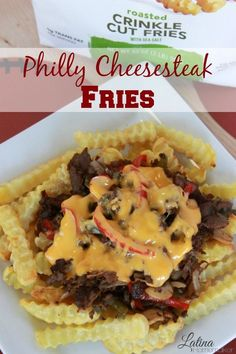 Philly Cheesesteak Fries. Baked french fries topped off with steak, onions, peppers, mushrooms and melted cheddar cheese sauce for the perfect game time grub.