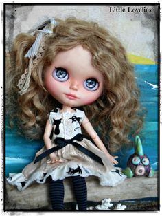 """Blythe Doll OOAK """"Cat Tales"""" - Black Pussy cats on tan linen bodice and gathered skirt by CooeeChris on Etsy"""