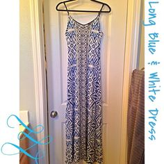 Blue and white long dress Long and gorgeous. In great condition. Belt in second picture not included. Mossimo Supply Co. Dresses Maxi