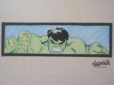 """""""Hulk""""  Sala de aula - tema """"Heróis e Princesas"""" Feita com tinta de parede e pigmento."""