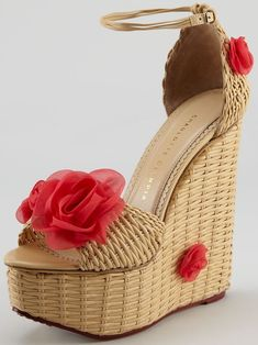 Charlotte Olympia 'Hortencia' Wicker Woven Wedge Sandals