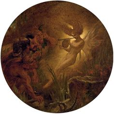 """Sir Joseph Noel Paton, (1821-1909) """"The Isle is full of Noises""""  Caliban, Stephano and Trinculo led by Ariel: An illustration to 'The Tempest', Act III"""