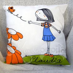 Love her work. Sewing Crafts, Sewing Projects, Painted Clothes, Baby Design, Sewing For Kids, Fabric Painting, Softies, Hand Embroidery, Decorative Pillows