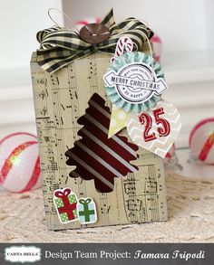 """Treat Box made with the """"So This is Christmas"""" collection by Carta Bella Christmas Favors, Christmas Crafts, Merry Christmas, Christmas Scrapbook Layouts, Favour Boxes, Treat Box, Book Binding, Distress Ink, Gel Pens"""