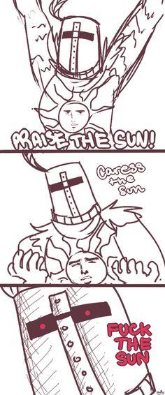 The three stages of solar in Dark Souls Kodama Tattoo, Dark Souls Solaire, Soul Saga, Dark Souls Art, Dark Souls Memes, Dark Memes, Praise The Sun, Mini Comic, Elsword