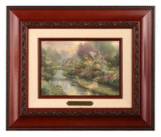 Lamplight Bridge - Brushwork (Brandy Frame) by Thomas Kinkade
