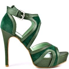 This cute style is meant for unstoppable girl who's on the go.  The Taryn by Just Fabulous features a green upper of fabric and snake printed synthetic leather.  This sleek style is summed up by a 5 inch heel and 1 inch platform.
