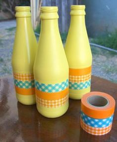 Wine Bottle DIY Crafts - Decorating Wine Bottles with Washi Tape - Projects for Lights, Decoration, Gift Ideas, Wedding, Christmas. Easy Cut Glass Ideas for Home Decor on Pinterest http://diyjoy.com/wine-bottle-crafts