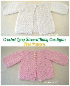 Crochet Long Sleeved Baby Cardigan Free Pattern - Crochet Kid's Sweater Coat Free Patterns