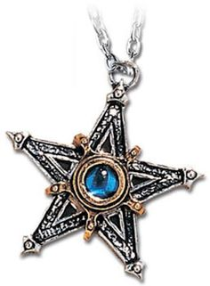 - Medieval Pentangle Pentacle Pendant Necklace. - In the Middle ages, the most common sign to ward off demonic powers was the pentangle. - Gilt two tone Medieval pentacle with blue cabochon crystal at