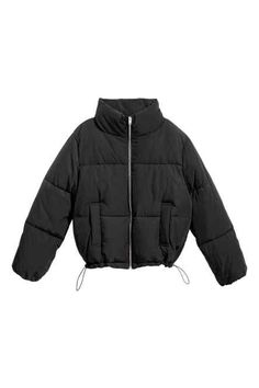 Short, padded bomber jacket in woven fabric with a slight sheen. Stand-up collar, zip down the front, side pockets and a drawstring at the sides of the hem. Cute Casual Outfits, Stylish Outfits, Urbane Mode, Mode Outfits, Fashion Outfits, Black Puffer Coat, Pullover Outfit, Black Girl Fashion, Padded Jacket