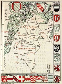 An early 16th century map of the Duchy of Lorraine. The arms of its primary noble houses line the margins.  North is towards the bottom of the map.