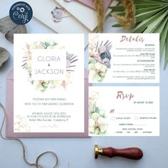 Orchid Wedding Invite Set Template, Printable White Orchid Modern Wedding, 100% Editable, Boho Tropical Wedding Invitation, Instant Download Wedding Invitation Templates, Wedding Invitations, Boho Wedding, Dream Wedding, Hotel Reception, Online Printing Services, White Orchids, Wedding Table Settings, Wedding Season