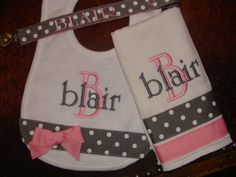 Custom Personalized Monogrammed Bib  Burp Cloth  Pacifier Clip  Gift Set LOTS of STYLES and COLORS on Etsy, $28.99