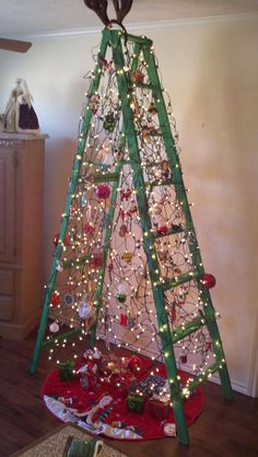 my awesome ladder tree it was a big hit recycled christmas decorations recycled - Christmas Tree Ladder Decoration