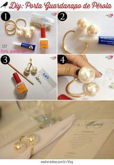 porta-guardanapo de pérolas, enfeite para guardanapo, napkin perl, diy, faça…