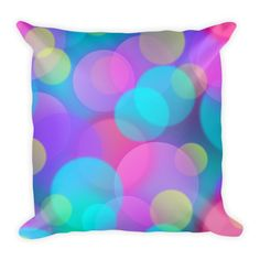 Pink, Purple and Aqua Bokeh Pillow. Printed Cushion.