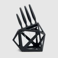 Black diamond knife block will contain up to eleven knives with stability. It has a unique design by Christian Bird for the Edge of Belgravia brand.