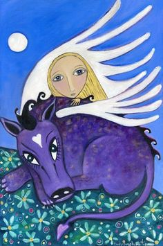 Blonde Girl and Dragon Whimsical Folk Art by LindyLonghurst