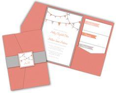Bunting Party Flags Pocket Fold Wedding Invitations. $50.00, via Etsy.