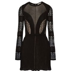 Dagmar Elisa open-back lace and stretch-knit mini dress ($650) ❤ liked on Polyvore featuring dresses, black, mini dress, art deco dress, open back dress, black lace cocktail dress and short lace cocktail dress