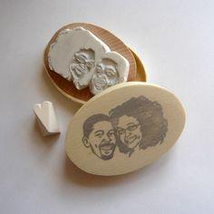 Custom / couple portrait / handcarved rubber stamp. $70.00, via Etsy.