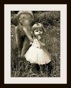 Baby Elephant + Little Girl | Content in a Cottage