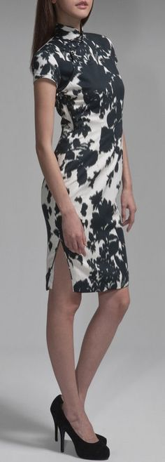 Black Floral Satin Dress <3 - love the print on this dress!