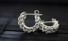 CLING Small Hoop Earrings Silver Posts  Argentium by Femailler