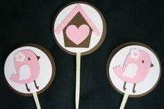 Brown and Pink Bird Theme Cupcake Toppers for Birthday Party or Baby Shower. $10.00, via Etsy.