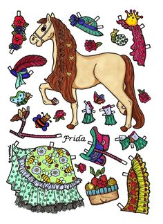 Karen`s Paper Dolls: Heste påklædningsdukker til at farvelægge og i farver. Paper Doll Horses to colour and in colours. Laust, Frida and French Kiss.